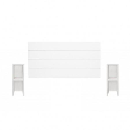Pack de Cabecero horizontal y mesitas Lina blanco