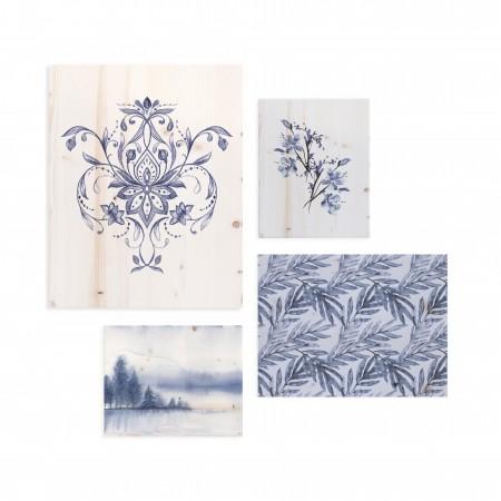 Pack de cuadros con motivos románticos en azul