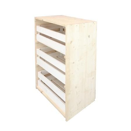 Cómoda tres cajas natural y blanca