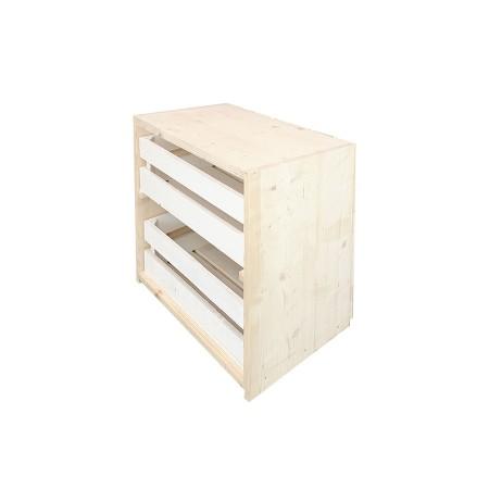 Mesita de noche cajas natural y blanca