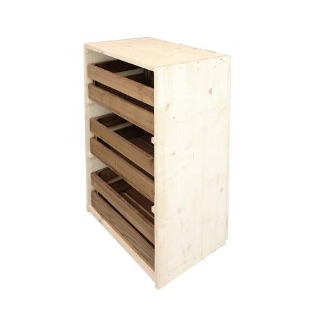 Cómoda tres cajas natural y envejecida