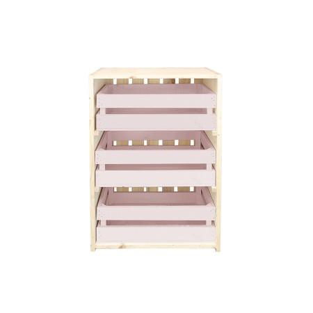 Cómoda tres cajas natural y rosa pastel