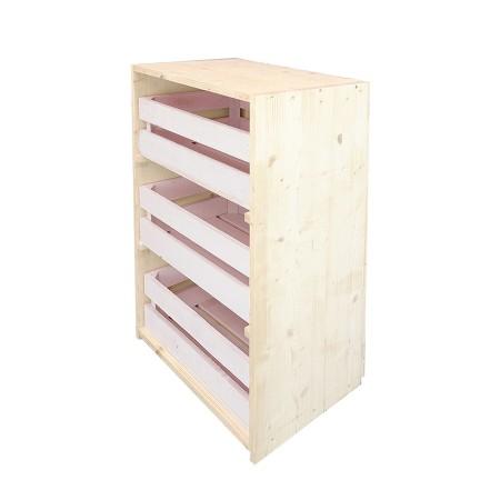 Cómoda cajas natural y rosa pastel