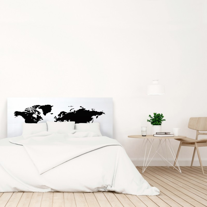 Cabecero blanco estampado mapamundi