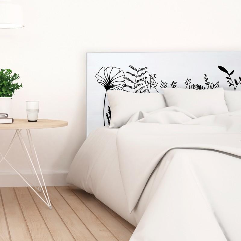 Cabecero blanco estampado flora