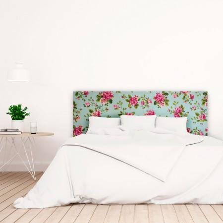 Cabecero blanco estampado rosas