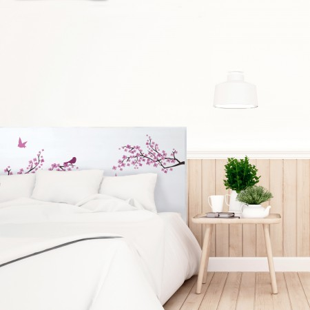 Cabecero blanco flores japonesas