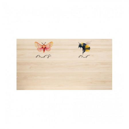 Cabecero de madera natural Butterfly & Bee