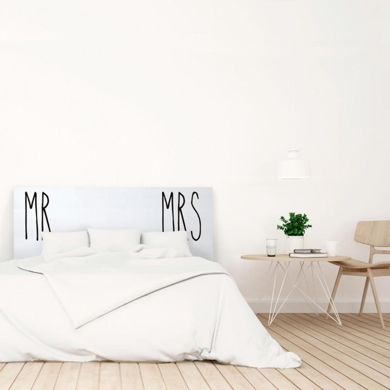 Cabecero blanco estampado mr and mrs