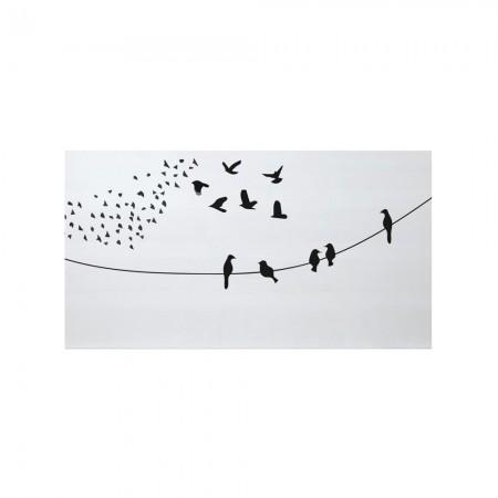 Cabecero blanco estampado aves