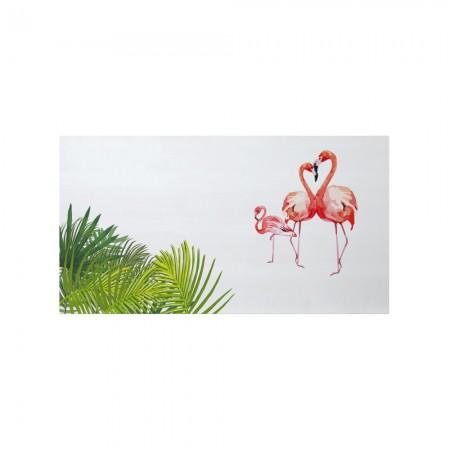 Cabecero blanco estampado flamencos