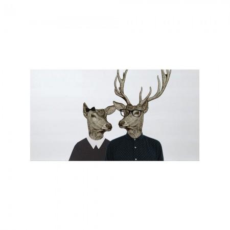 Cabecero blanco estampado renos hipster