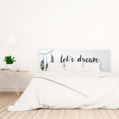 Cabecero blanco estampado let's dream