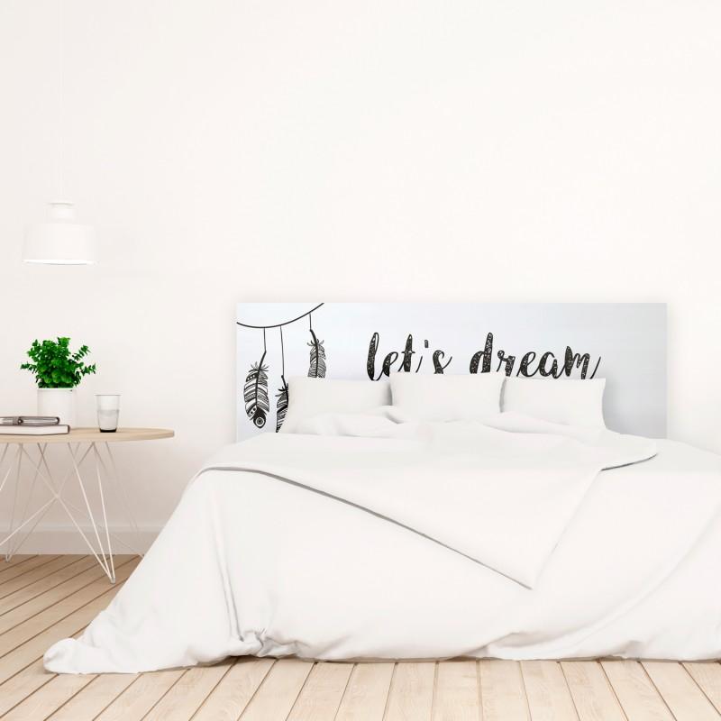 Cabecero blanco estampado let's dream