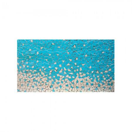 Cabecero blanco mosaico azul