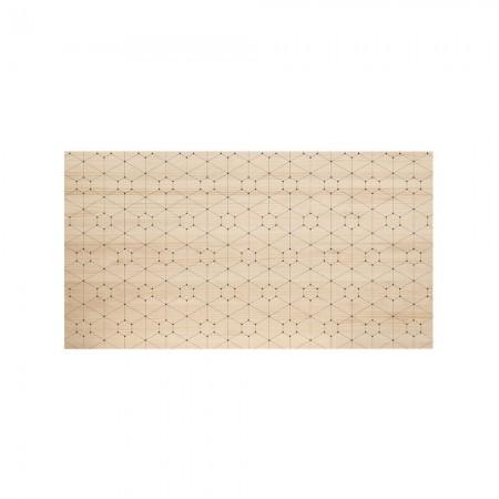 Cabecero de madera natural puntos y líneas