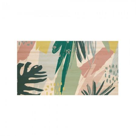 Cabecero de madera botánico abstracto