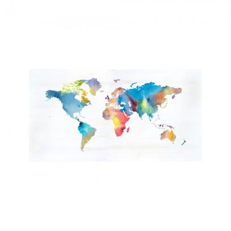 Cabecero decapado 'Acuarela mundo colores'