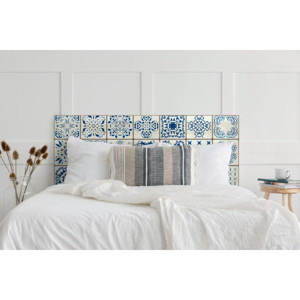 Cabecero decapado blanco mosaico vintage
