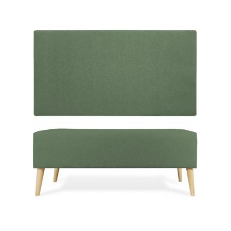 Cabecero Poliéster liso verde + banqueta