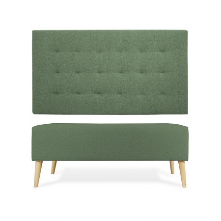 Cabecero Poliéster pliegues verde + banqueta
