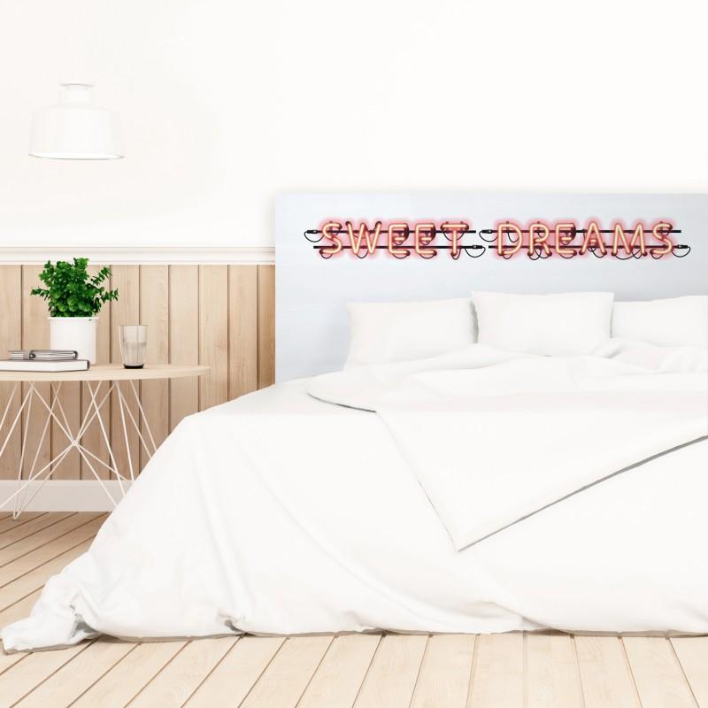 Cabecero blanco estampado sweet dreams