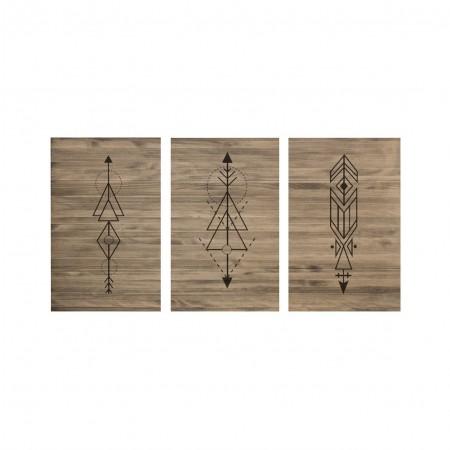 Cabecero tríptico envejecido flechas geometricas