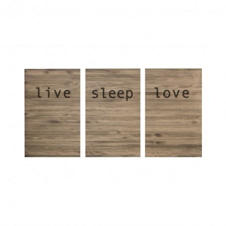 Cabecero tríptico envejecido live love sleep