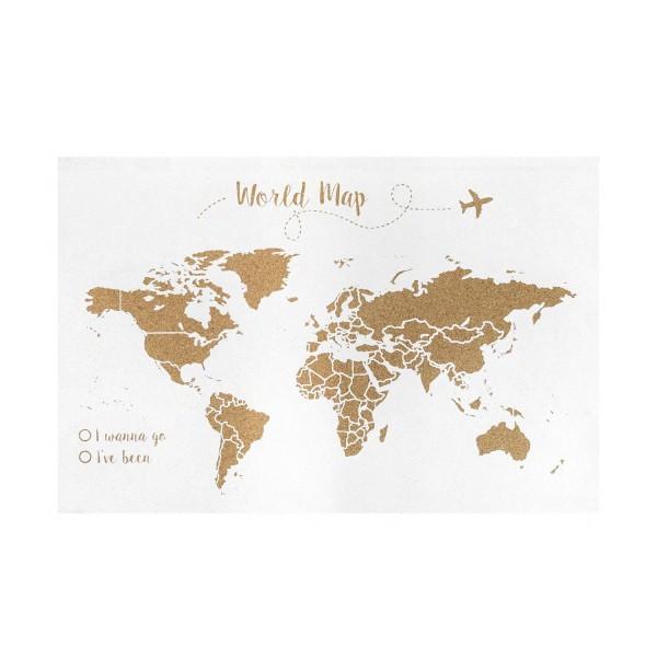 Corcho mapa del mundo blanco invertido
