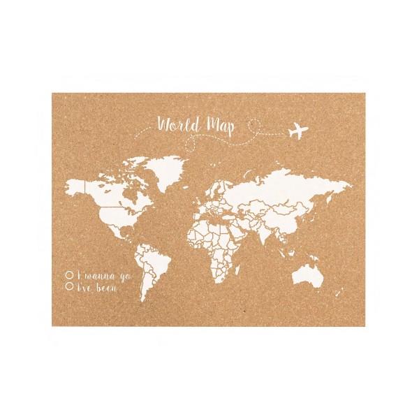 Corcho mapa del mundo blanco