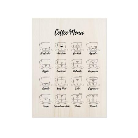 Cuadro de madera Coffee Menu