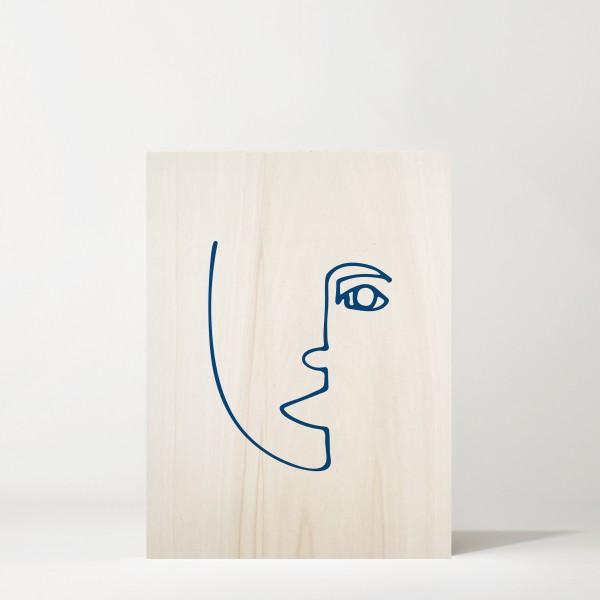 Cuadro de madera Blue Face