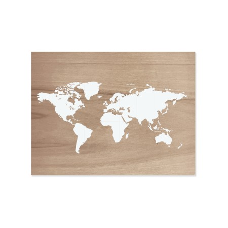 Cuadro de madera Mapamundi envejecido