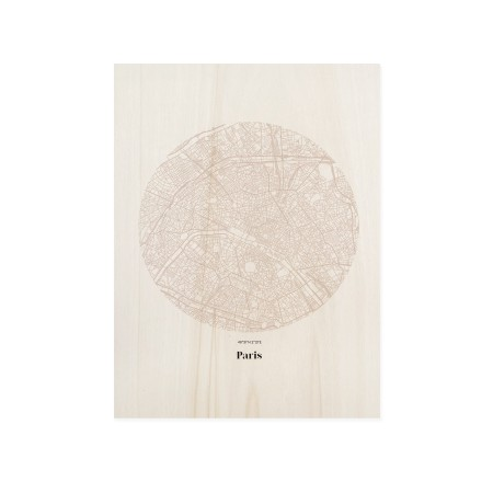 Cuadro de madera Paris Map