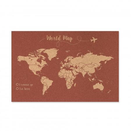Corcho mapa del mundo fondo terracota